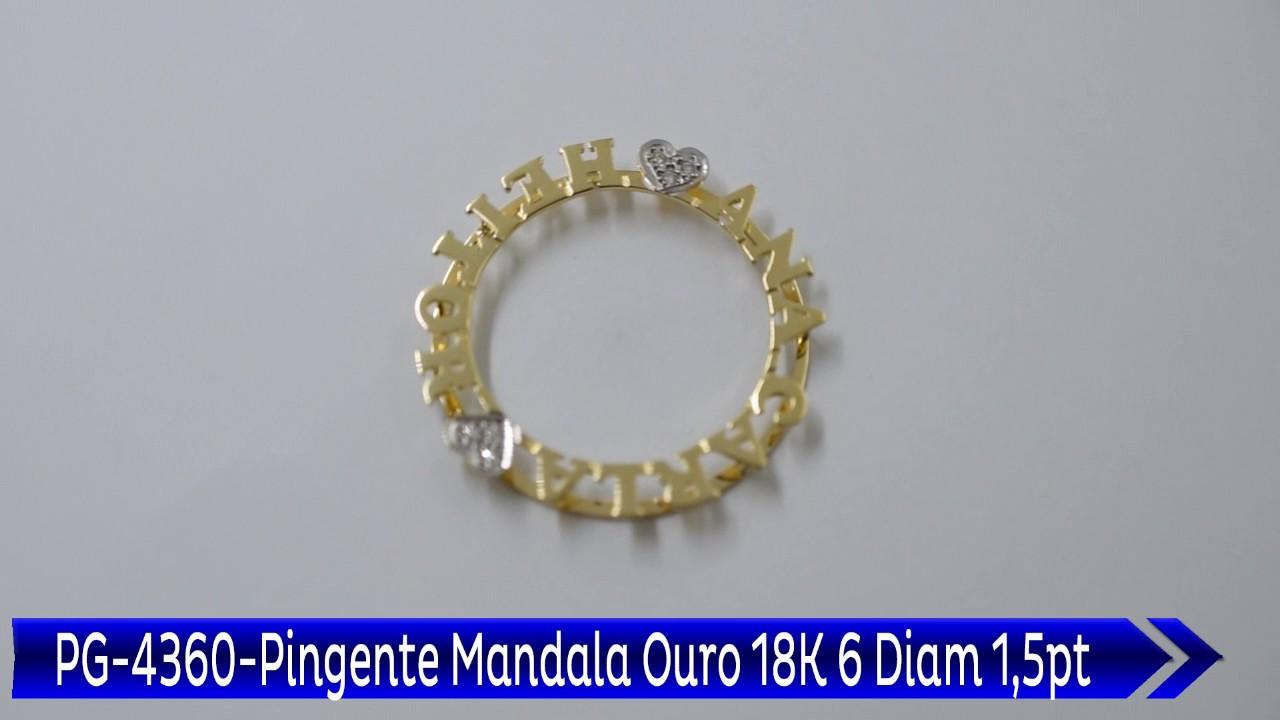 PG 4360 Pingente Mandala Ana Carla e Heitor 6 Diam 1,5pt - YouTube 031945f8d1