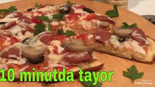 Tovada pizza 10 minutda tayor / пицца на сковороде