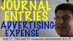 Journal Entries For Accounting Made Easy / Advertising Expense / Accounting for Beginners #130