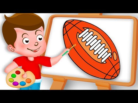 Drawing Rugby Ball Paint And Colouring For Kids Kids drawing TV