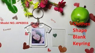 Clothes shape blank photo keyrings personaised clear acrylic keychain blanks wholesale
