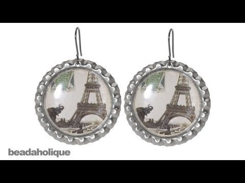 How to Make Bottle Cap Earrings Using Epoxy Stickers