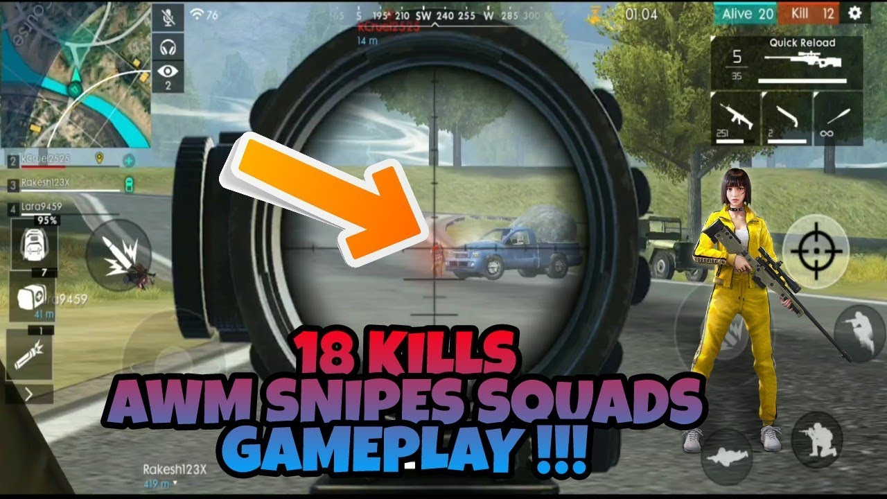 Insane 18 Kills Awm Sniper Kills Gameplay Free Fire Battlegrounds