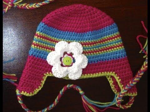 How To Crochet A Newborn Hat Braided Ear Flap Hat Youtube