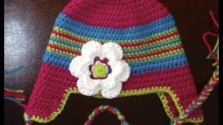 Crochet Newborn Braided Ear Flap Hat Tutorial