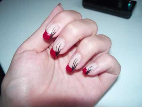 Black And Red Alternative French Tip Nail Design Youtube