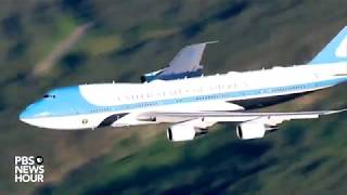 Air Force One does a flyover at Mt. Rushmore