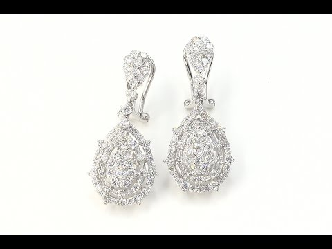 Certified Natural White Diamond Dangle Cocktail Earrings 2.56 TCW High End Estate - C1059