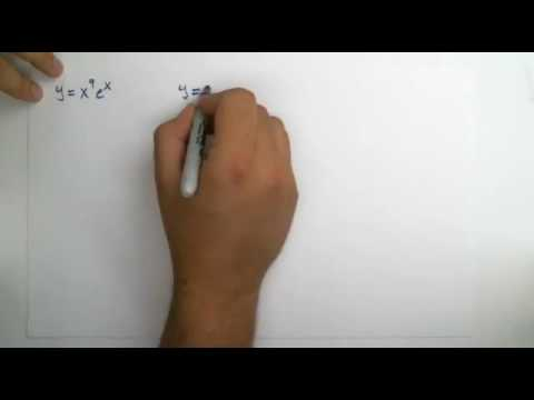 Find derivative using product rule for y = x^9*e^x