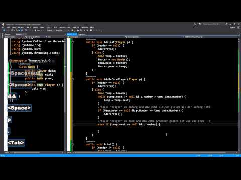C# Doubly Linked List Add First Last Sorted Insert (Silent Demo)