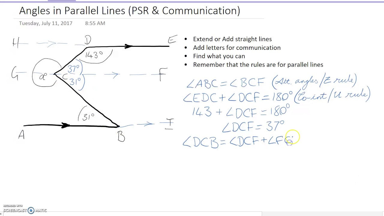 Angles In Parallel Lines Problem Solving Worked Example