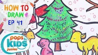 Sắc Màu Tuổi Thơ - Tập 41 - Bé Tập Vẽ Cây Thông Noel | How To Draw Coloring Christmas Tree For Kids