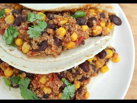 VEGAN CROCK POT BLACK BEAN QUINOA TACOS