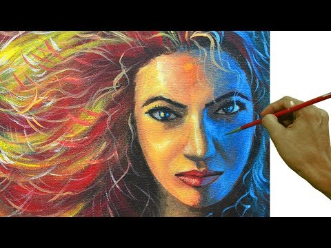 Acrylic Portrait Painting Tutorial on How to Paint Colorful Portrait of Beautiful Lady with Red Hair