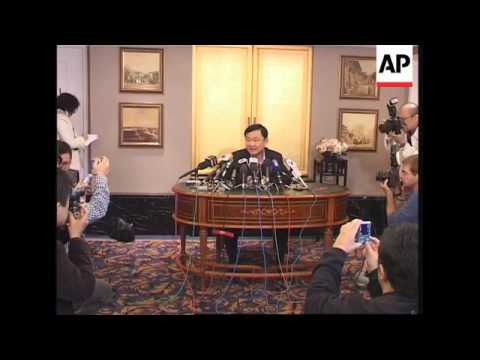 Former Thai Prime Minister Thaksin Shinawatra news conference