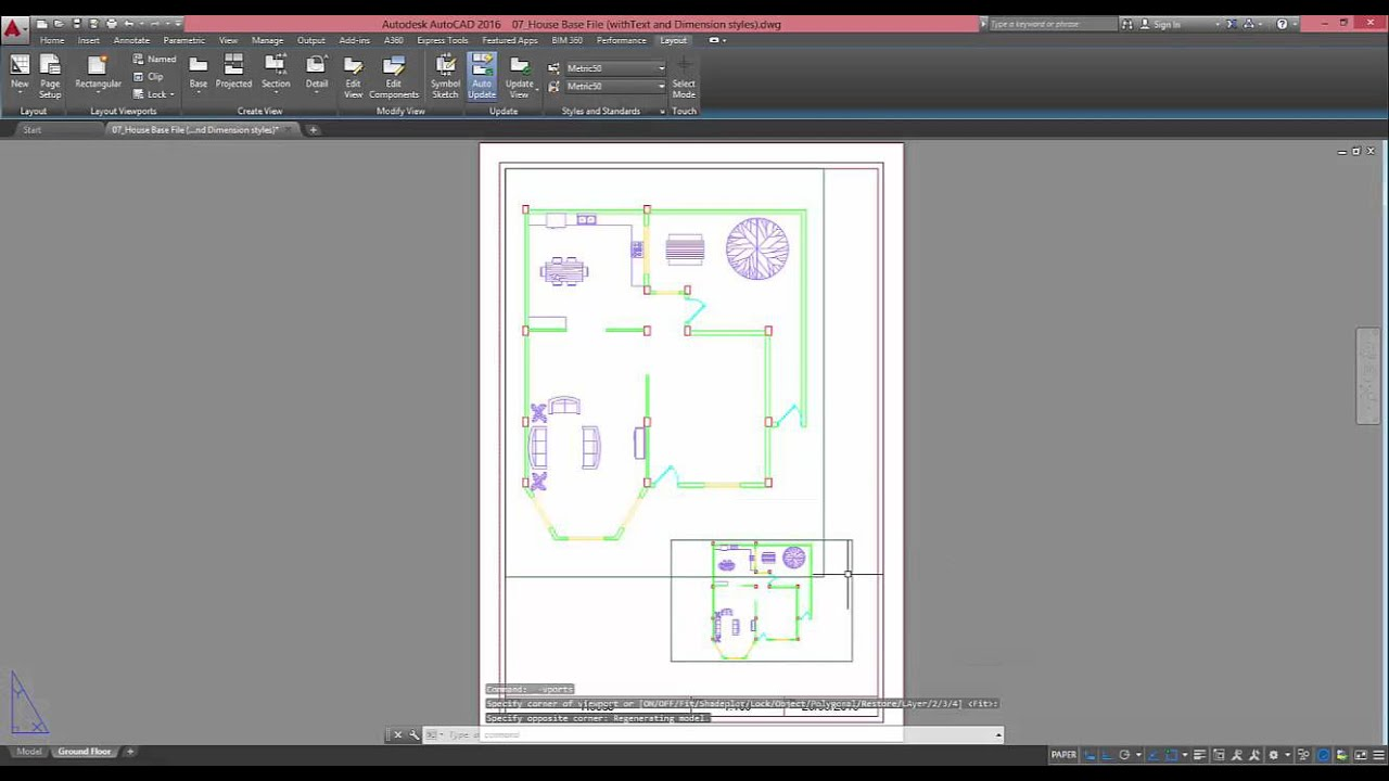 Create 2 viewports in autocad and hide one layer in only one of the