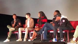 John David Washington, Topher Grace and Corey Hawkins, Blackkklansman, discuss the uncomfortable na