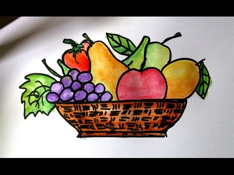 How to draw fruits in a basket