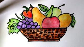 cara mudah menggambar buah buahan dalam keranjang