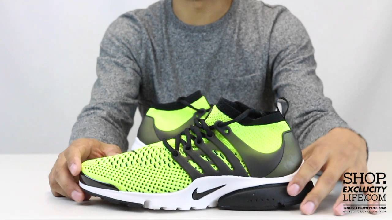 on sale 52bf2 e1de3 Nike Flyknit Ultra Volt - Black Presto Video at Exclucity -