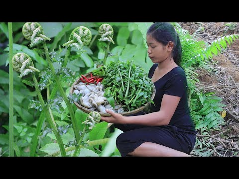 Survival cooking in forest: Cooking octopus spicy Chili with Natural vegetable for Eating delicious