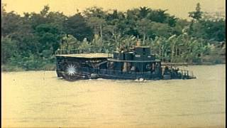 Men of US Mobile Riverine Force disembark from an ATC  and go ashore into a jungl...HD Stock Footage