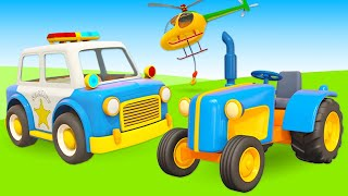 Car cartoons in English - Leo the truck and street vehicles.