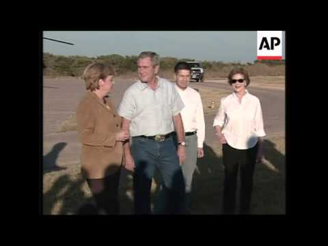 German Chancellor Angela Merkel arrives at Bush's Texas ranch