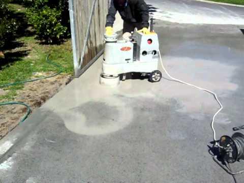 Polishing a Grano concrete Driveway  YouTube