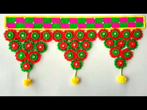 DIY HOW TO - MAKE DOOR HANGING TORAN FROM WOOLEN FLOWERS || BEAUTIFUL DOOR HANGING TORAN CRAFT IDEAS