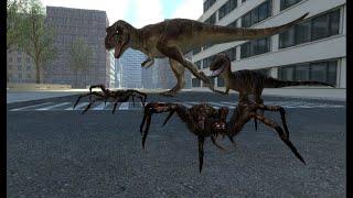 Giant Spiders VS Dinosaurs NPC Battle GMOD