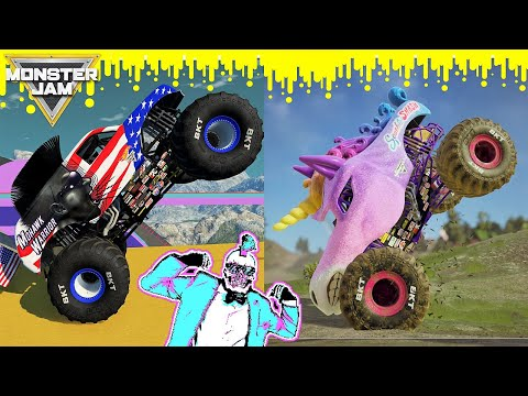 Monster Jam Steel Titans 2 and BeamNG Drive Freestyle, Racing and Crashes |
