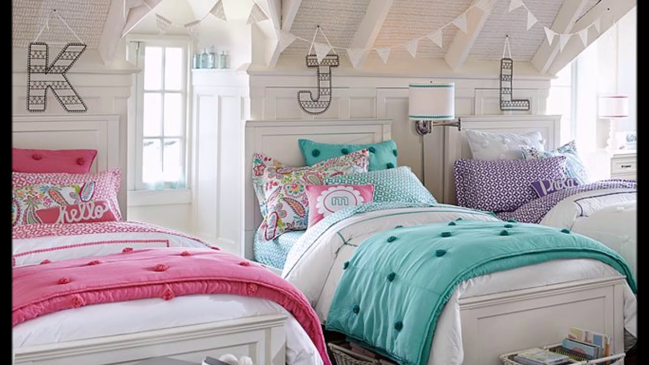 Shared bedroom ideas for young and teenage girls youtube - Teenage girl bedroom decorations ...