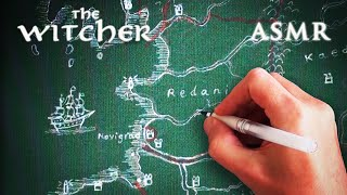 ASMR 1hr The Witcher | Drawing Map on Cloth Canvas | Deep Voice