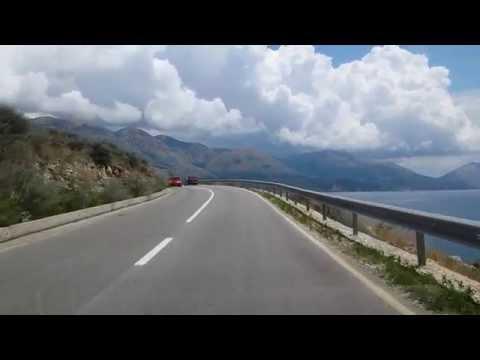 Driving along coastline of Albania past Himarë towards Greece