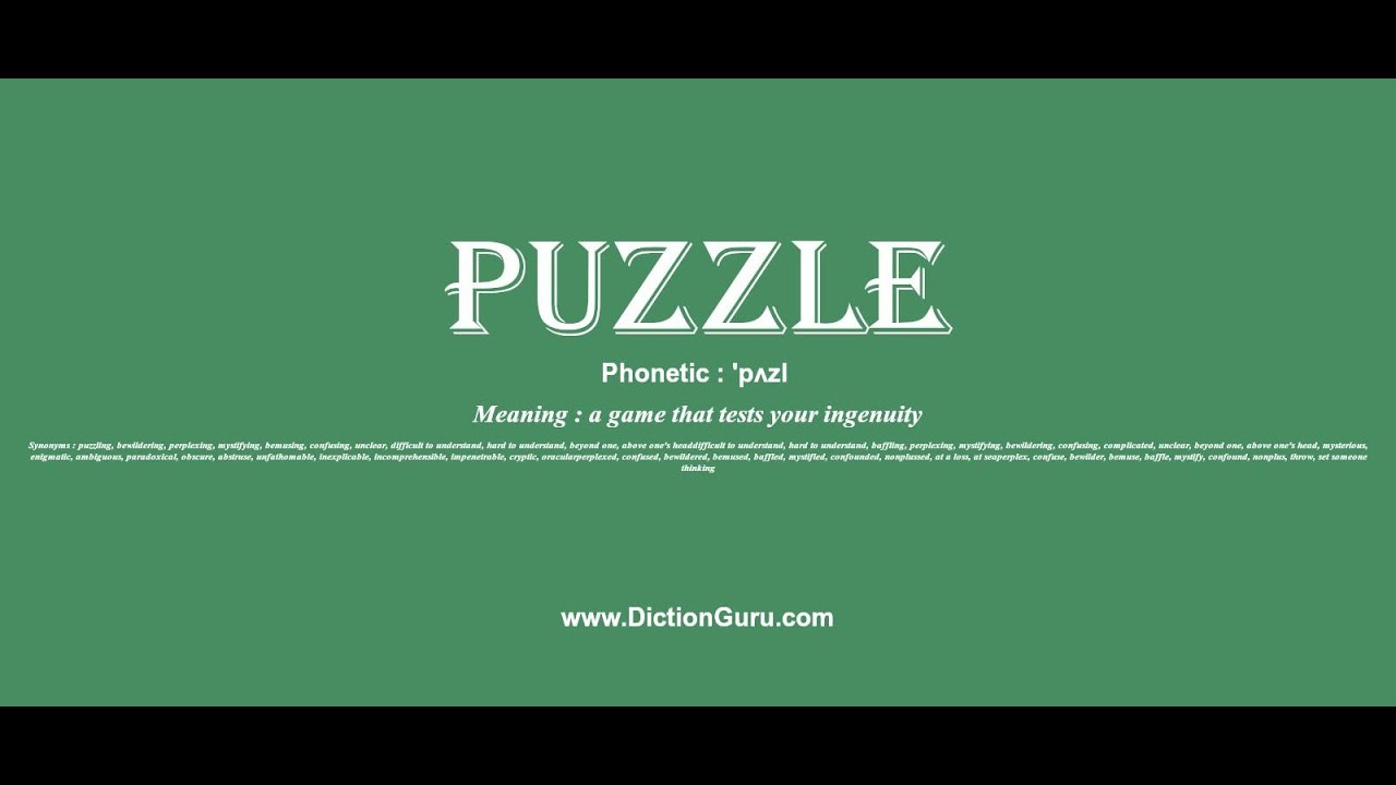 Puzzle Pronounce Puzzle With Meaning Phonetic Synonyms And