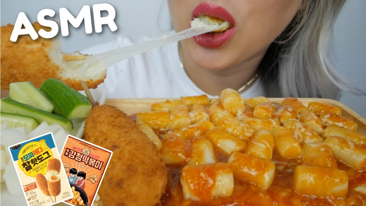 ASMR Gangjeong Topokki With Cheesy Mozzarella Corn Dog *NO Talking Sticky Chewy Eating Sounds   N.E