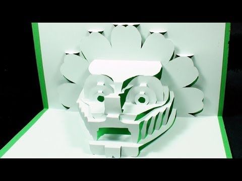 How to make a 3D DRAGON Pop Up Card | FREE Template - (Kirigami 3D) Dragon Head Greeting Card!