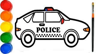 How to Draw a Police Car | Car Drawing | Drawing for Kids | Painting | Coloring | Learn Colors