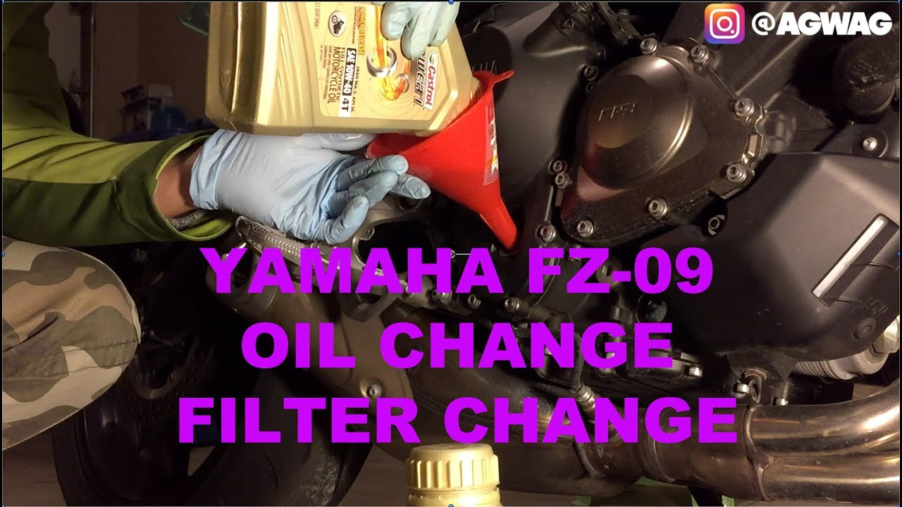 Diy Yamaha Fz 09 Oil Filter Change Youtube