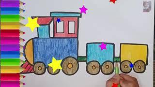 Kereta Api Train, Belajar Menggambar dan Mewarnai untuk ANAK