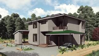 видео Проект двухэтажного дома с навесом для машины [Плюс Строй]