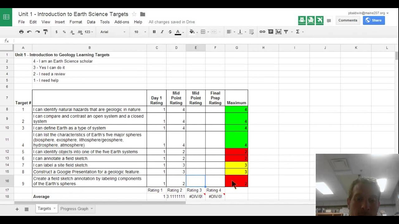 using google spreadsheets for student self