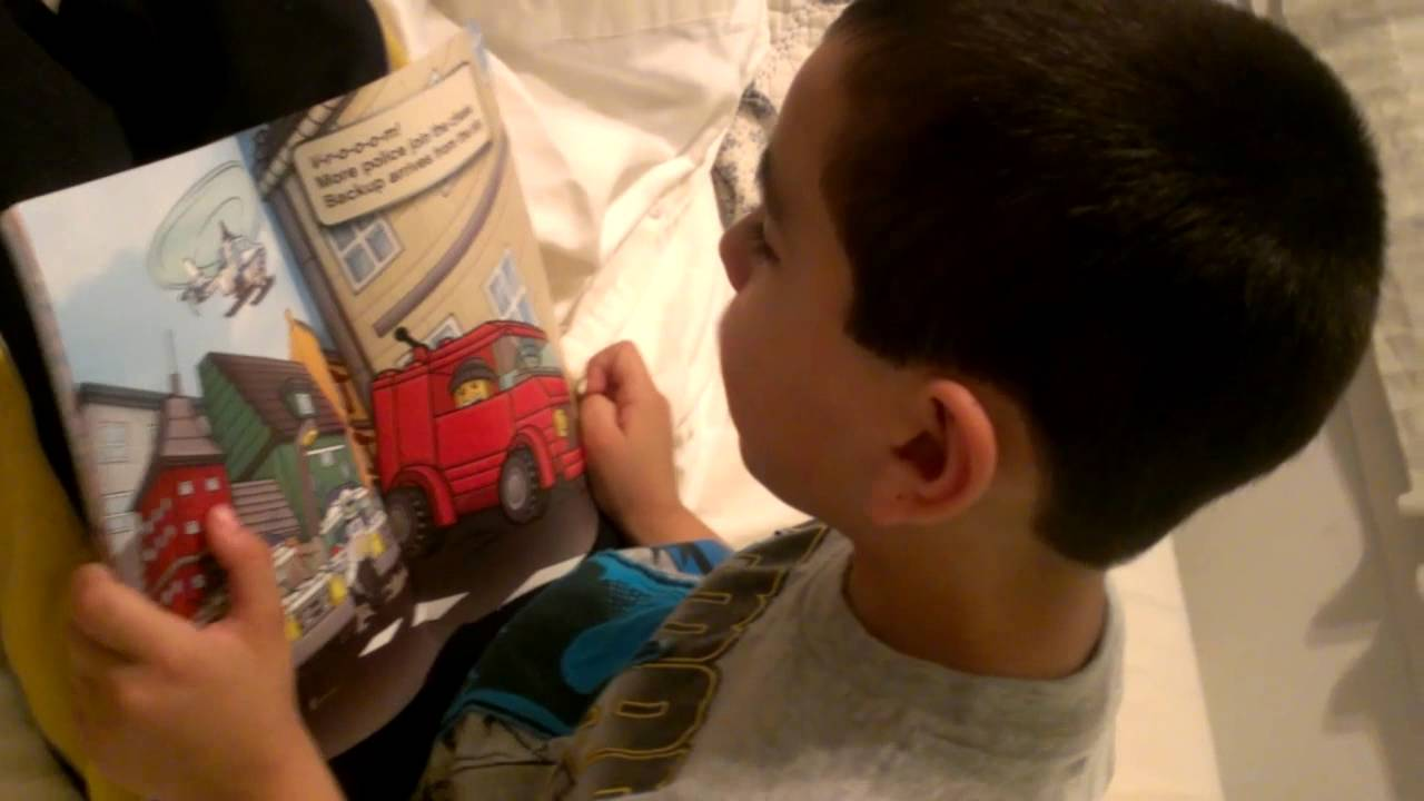 Max reads LEGO CITY, \