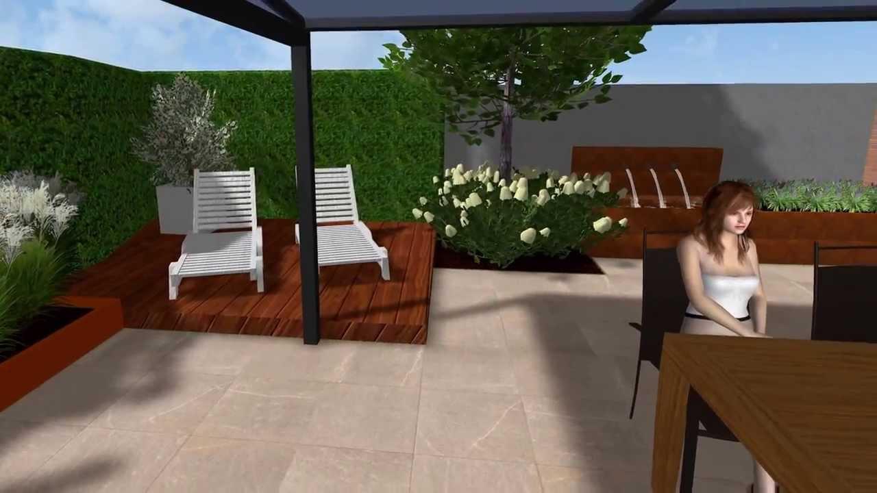 Herman vaessen 3d tuinontwerp moderne sfeervolle patiotuin for 3d tuin ontwerpen