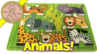 Melissa & Doug Safari Mix N Match Wood Peg Puzzle