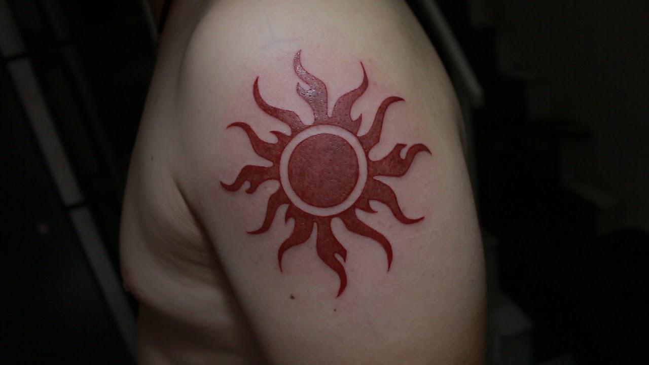 Hình xăm mặt trời đỏ I Dương Trúc Tattooist #1