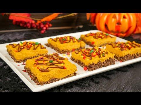 Halloween No Bake Kürbis Schnitten I Pumpkin Pie Bars I Tag 5 Halloween Woche 2019