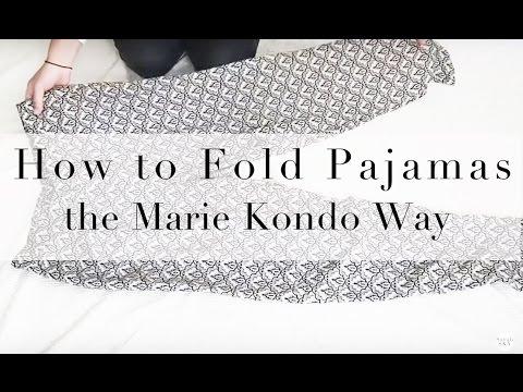 Kon mari how to fold pajamas or soft pants in the marie kondo way