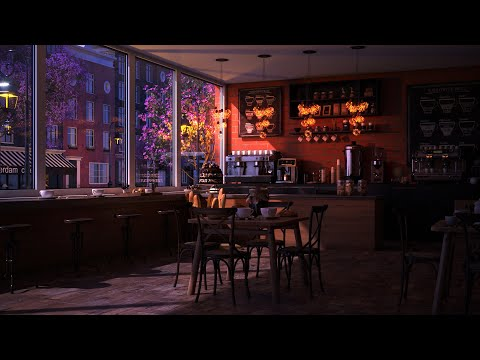 Rainy Night and Coffee Shop Ambience with Rain Sounds & Relaxing Jazz Music - Cozy Rain